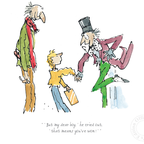 Charlie and the Chocolate Factory print, illustrated by Quentin Blake and featuing Roald Dahl's much-loved characters - Charlie Bucket, Grandpa Joe and Willy Wonka