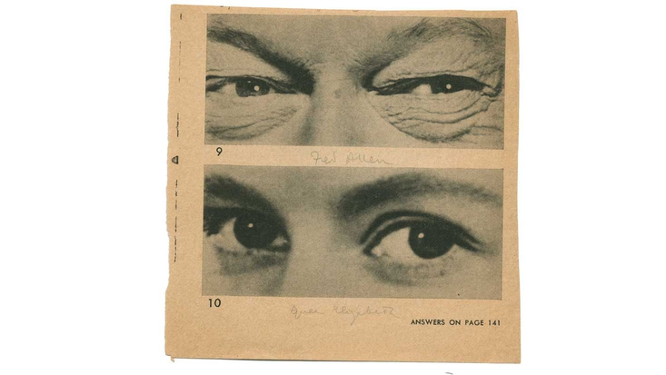 Cuttings from a newspaper showing people's eyes