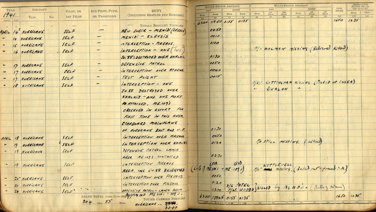 Roald Dahl's Log Book, showing the entry for the 1941 Battle of Athens. Photo courtesy of the Roald Dahl Museum and Story Centre archive.