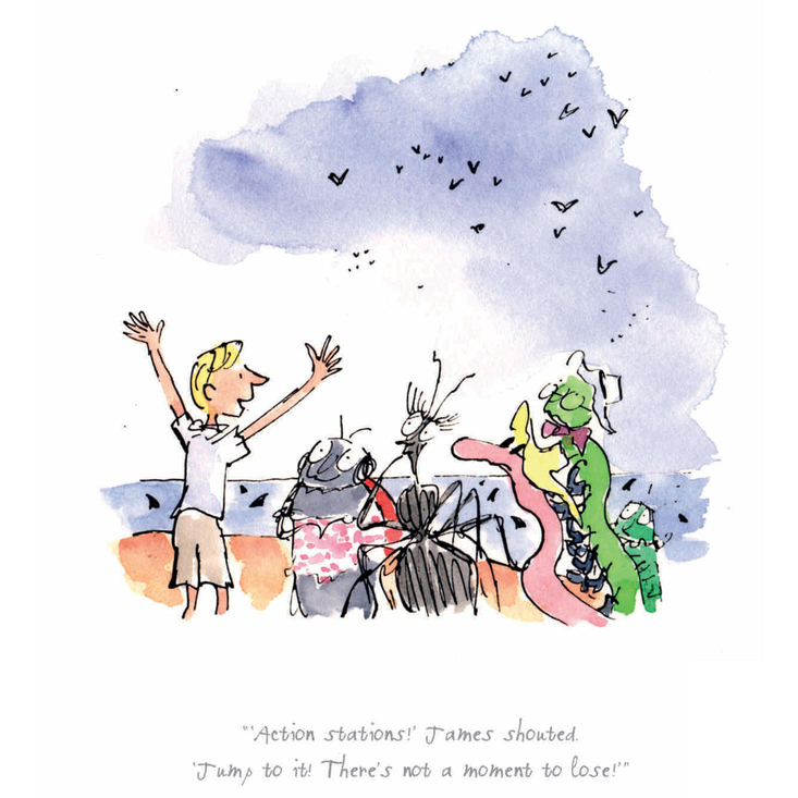 A lively limited edition print from Roald Dahl's James and the Giant Peach, illustrated by Quentin Blake