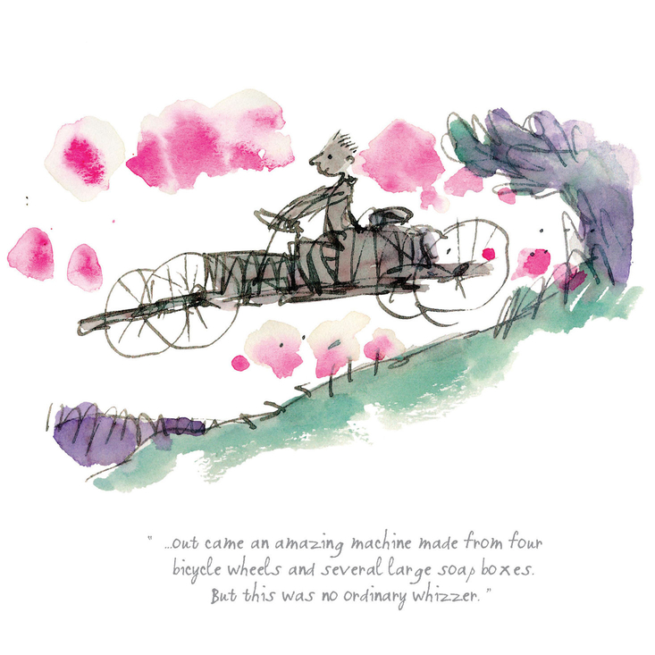 A beautiful limited edition Danny, the Champion of the World print, featuring Roald Dahl's much-loved characters as illustrated by Quentin Blake