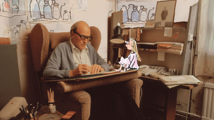 Roald Dahl in his Writing Hut with Sophie from The BFG, illustrated by Sir Quentin Blake