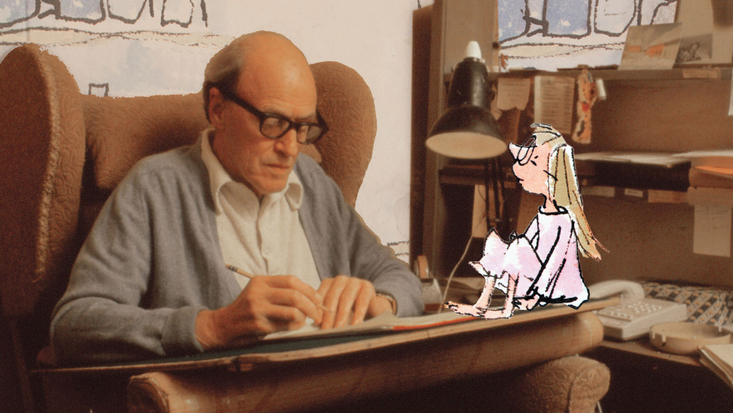 Roald Dahl with Sophie from The BFG, illustrated by Quentin Blake. Image c. Bremner Orr