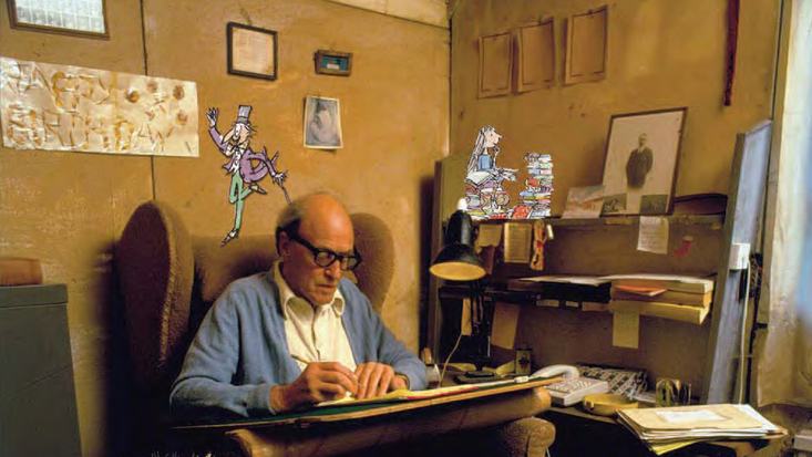 Roald Dahl in his Writing Hut with Quentin Blake illustration of Willy Wonka and Matilda. C. Bremner and Orr.
