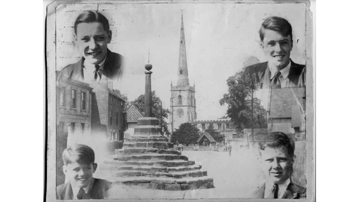 Photograph collage of Repton School and friends by Roald Dahl, 1931