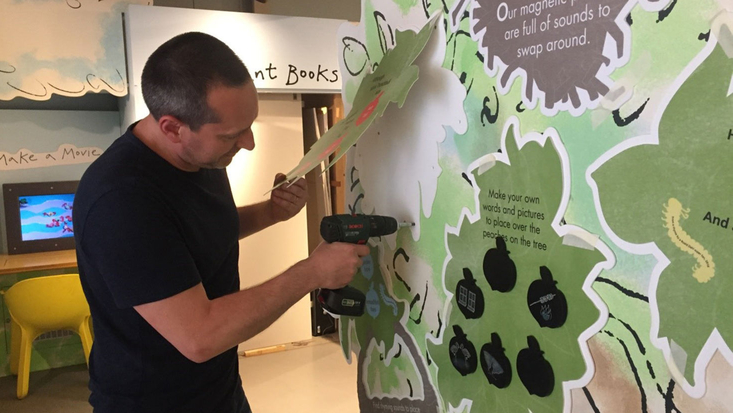Installing the Rhyme Tree at the Roald Dahl Museum