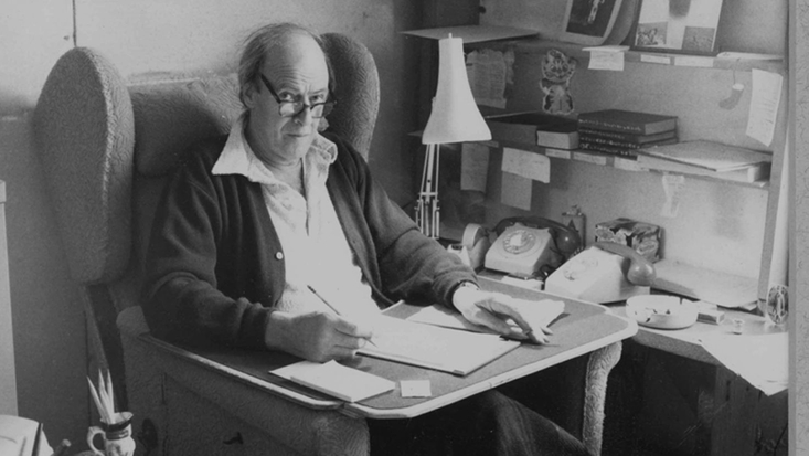 Roald Dahl in his Writing Hut, copyright RDNL