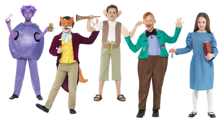 A selection of Roald Dahl character fancy dress costumes