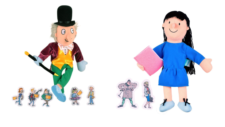 Roald Dahl hand puppets - Willy Wonka and Matilda