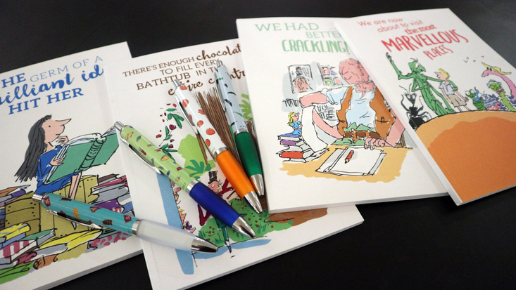 Roald Dahl stationery on a tabletop