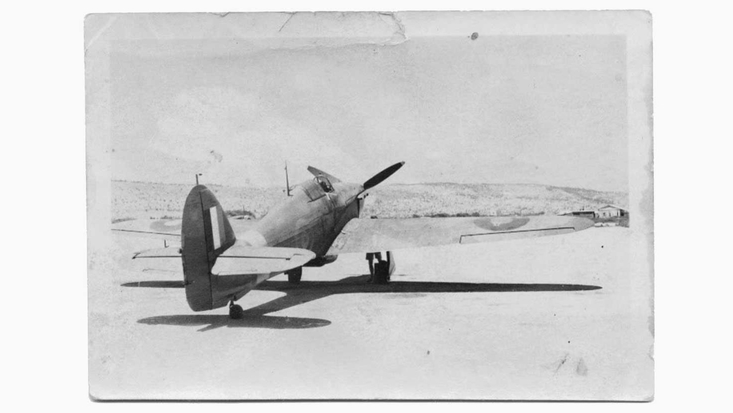 Roald Dahl's Hurricane at Haifa airfield in Palestine, by Roald Dahl 1941