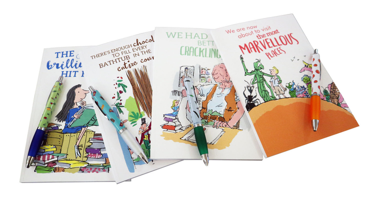 Four Roald Dahl pen and pads sets