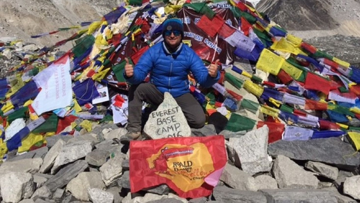 Simon Williams at Everest Base Camp for Roald Dahl's Marvellous Children's Charity