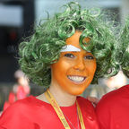 Group of fundraisers in Oompa-Loompa fancy dress