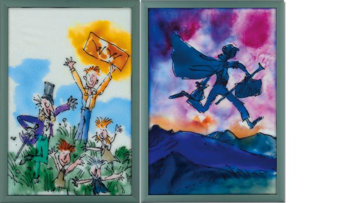 Stained glass window panels by Sir Quentin Blake