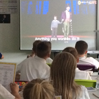 Students at Bolton St Catherine's in Bolton, UK, join in the 'Pure Imagination' global singalong