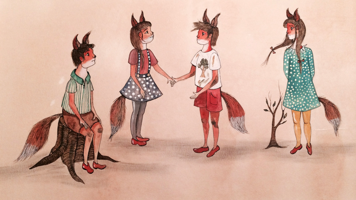 The Cubs, illustrated by Emily Woodard, for the San Antonio, Texas production of Music Link International's operatic adaptation of Roald Dahl's Fantastic Mr Fox
