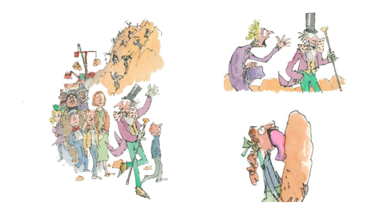Quentin Blake illustrates The Vanilla Fudge Room, a chapter from an early unpublished draft of Roald Dahl's Charlie and the Chocolate Factory