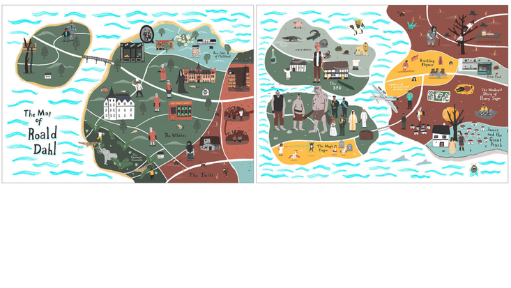 Close-ups of The Roald Dahl Map