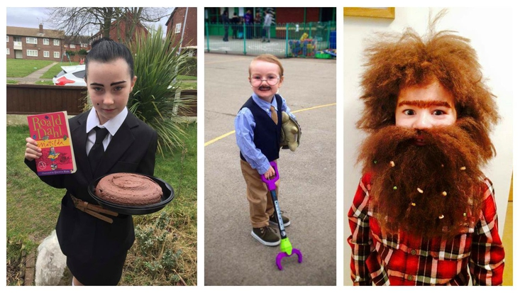 kimberleythomas 's Miss Trunchbull, ScoutJFinch's son as Mr Hoppy with Alfie, and Amanda Brown's son Lewis as Mr Twit for World Book Day 2015