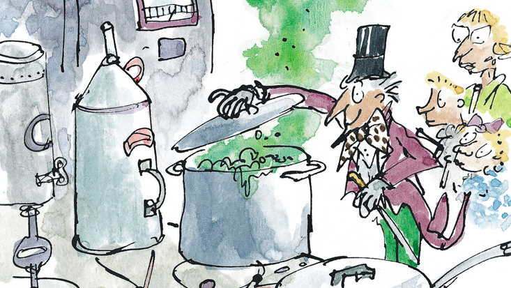 Willy Wonka in the Inventing Room, illustrated by Quentin Blake, from Roald Dahl's Charlie and the Chocolate Factory