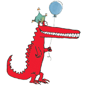 Quentin Blake crocodile illustration with balloon